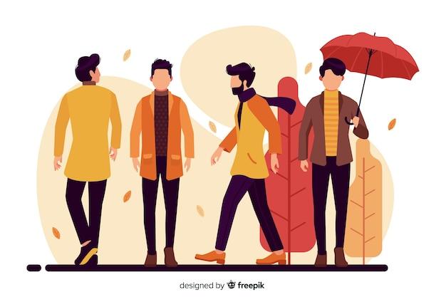 Ludzie noszą ubrania jesienne