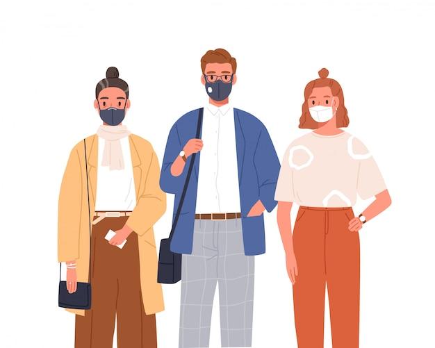 Ludzie noszący maskę medyczną na płaskiej twarzy ilustracji. mężczyzna i kobieta w ochronnych respiratorach na białym tle. ochrona przed koronawirusem