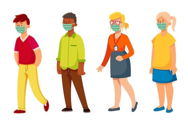 Ludzie noszący maskę