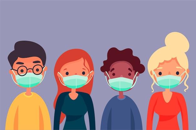 Ludzie noszący maski medyczne