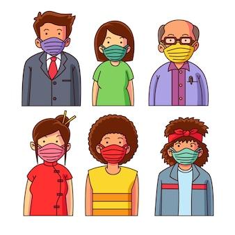 Ludzie noszący maski z tkaniny