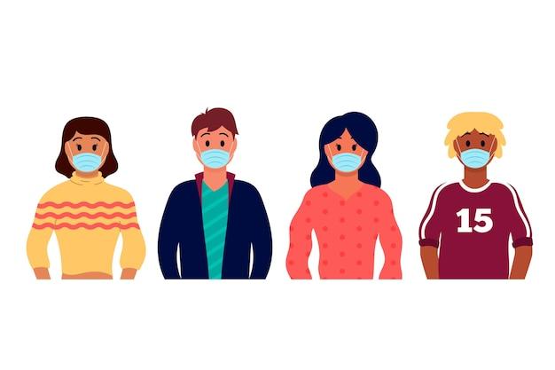 Ludzie noszący medyczną maskę średni widok