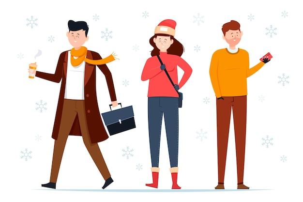 Ludzie noszący przytulne zimowe ubrania ilustracja