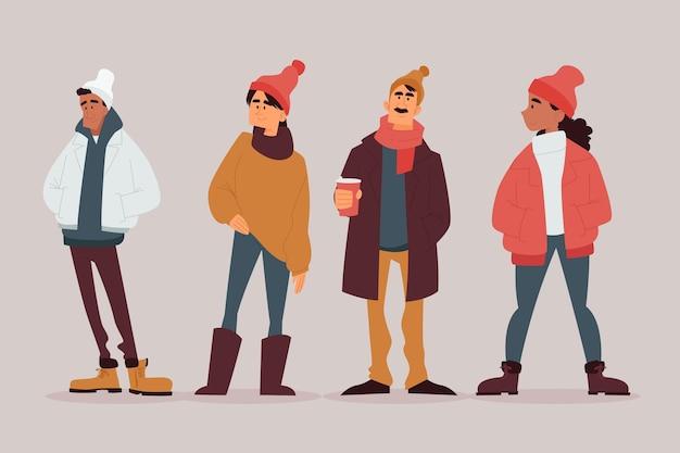 Ludzie noszący różne przytulne zimowe ubrania