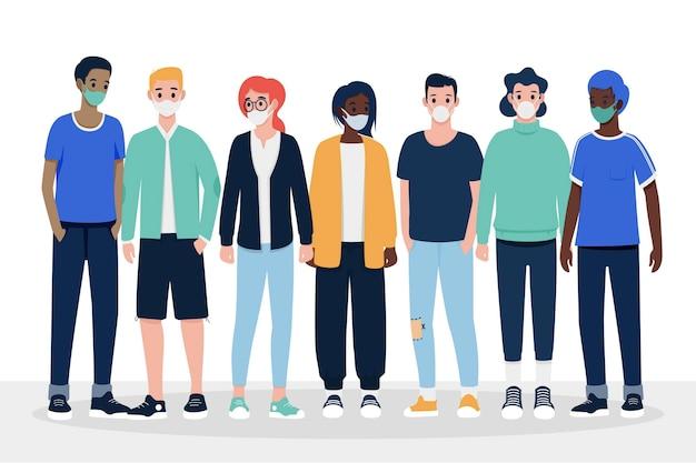 Ludzie noszący różne rodzaje masek