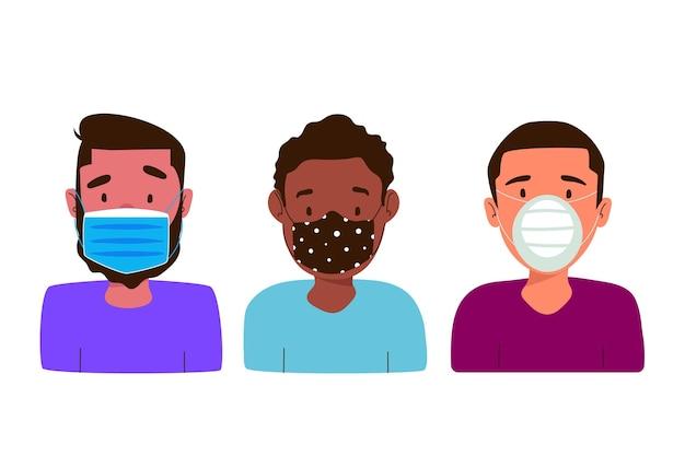 Ludzie noszący różne typy masek na twarz noszący różne typy masek