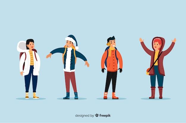 Ludzie noszący ubrania zimowe w różnych pozycjach