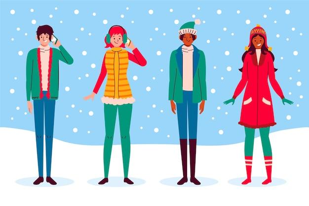 Ludzie noszący ubrania zimowe