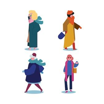 Ludzie noszący zimowe ubrania