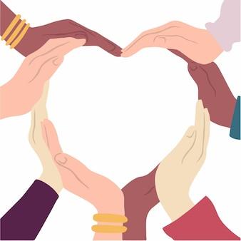 Ludzie o różnym kolorze skóry zrobić kształt serca na białym tle płaskiej ilustracji wektorowych