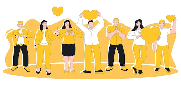 Ludzie odczuwają szczerą wdzięczność i uznanie emocji. zadowolony pozytywny szczęśliwie uśmiechnięty mężczyzna kobieta z ręką na klatce piersiowej i sercu okazującym wdzięczność i życzliwość wyrażenie ilustracji wektorowych