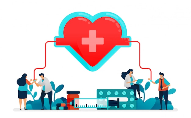 Ludzie oddają krew szpitalnym służbom ratunkowym. torba do transfuzji z sercem i czerwonym krzyżem. lekarz sprawdza stan zdrowia dawcy.