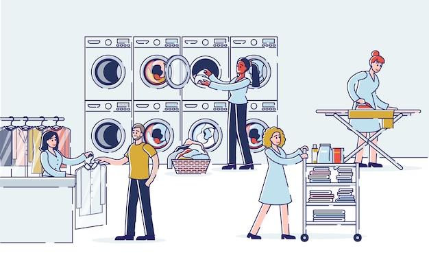 Ludzie oddają pralni chemicznej i rzeczy w pralni