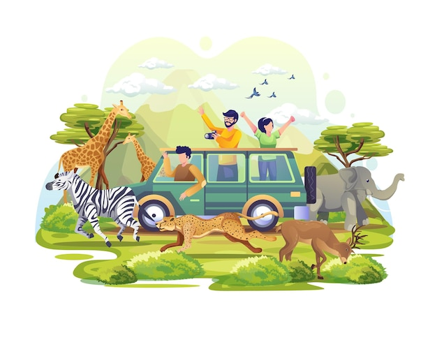 Ludzie odkrywają sawannę w pojeździe podczas światowego dnia zwierząt. ilustracja