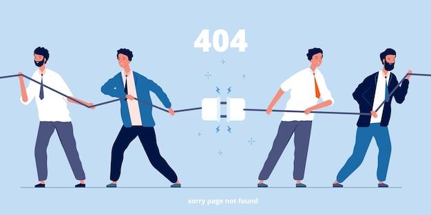 Ludzie odłączają wtyczkę. biznesowe postacie odłączają połączenie błąd systemowy zły obraz płaskie osoby. ilustracja wtyczka przyłączeniowa i odłączony kabel