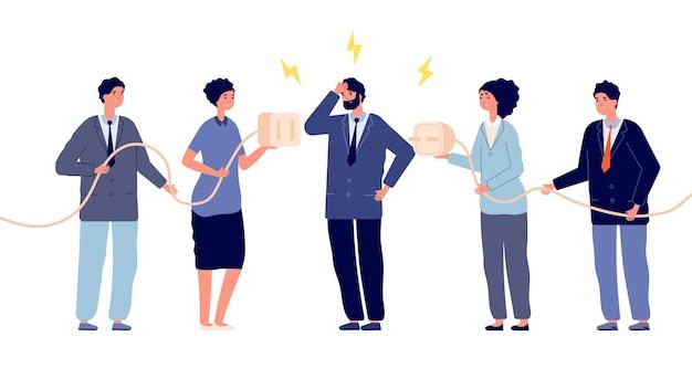 Ludzie odłączają wtyczkę. błąd połączenia, konserwacja kabla offline. problemy z biznesem lub niepowodzenie partnerstwa. ilustracja wektorowa odłącz urządzenia. połączenie odłączonej energii, kabel odłączający zasilanie