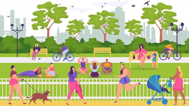 Ludzie odpoczywają w parku, ilustracja. aktywność na świeżym powietrzu w przyrodzie, sportowy styl życia z kreskówkowym letnim krajobrazem.