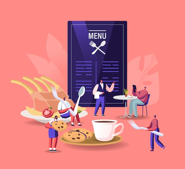 Ludzie odwiedzający kawiarnię, ilustracja gościnność