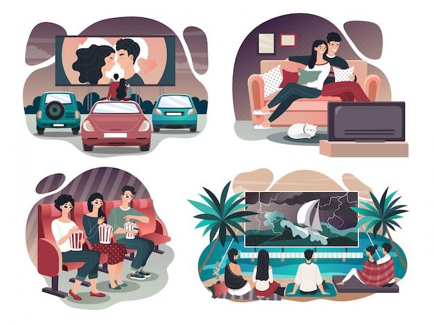 Ludzie ogląda film w kinie, tv, plenerowym kinie i w domu, wektorowa ilustracja