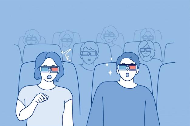 Ludzie oglądają film koncepcja