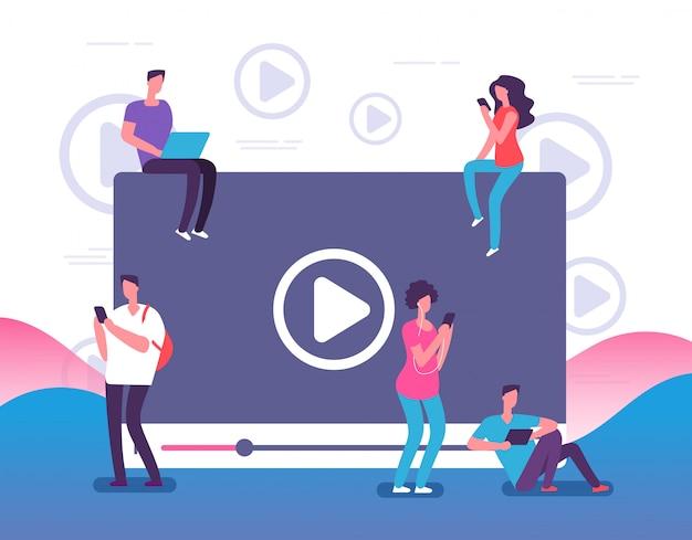 Ludzie oglądają filmy online. cyfrowa telewizja internetowa, odtwarzacz wideo lub media społecznościowe na żywo