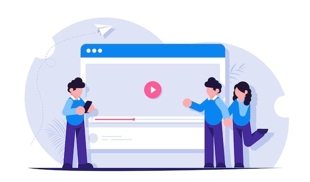 Ludzie oglądają i udostępniają filmy w internecie i sieciach społecznościowych. hosting wideo w przeglądarce. transmisja na żywo lub blogowanie