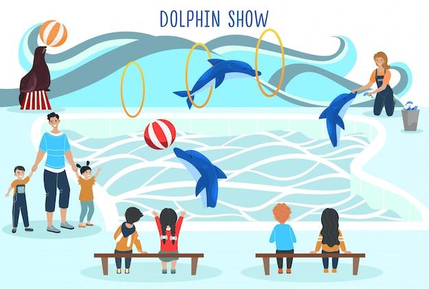 Ludzie oglądają pokaz delfinów, rozrywka dla rodziny z dziećmi, wyszkolony występ zwierząt, ilustracja