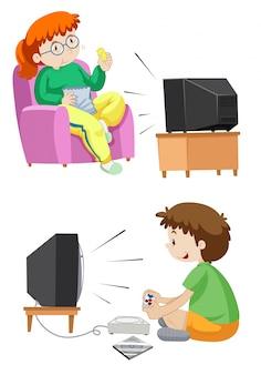 Ludzie oglądają telewizję i grają ilustrację gier