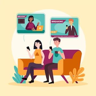 Ludzie oglądają wiadomości przez telefon