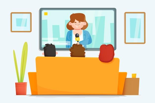 Ludzie oglądają wiadomości w pomieszczeniu