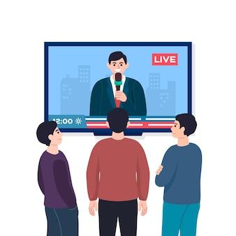 Ludzie oglądają wiadomości w telewizji