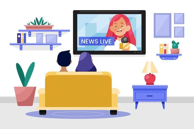 Ludzie oglądają wiadomości z domu
