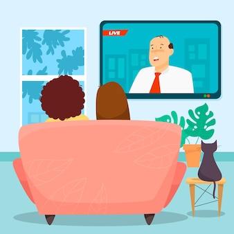 Ludzie oglądają wiadomości