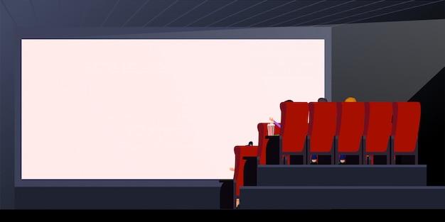Ludzie oglądający film. ilustracja wektorowa pusty ekran. wnętrze teatru