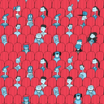 Ludzie oglądający film w sali kinowej. dystans społeczny po covidzie-19
