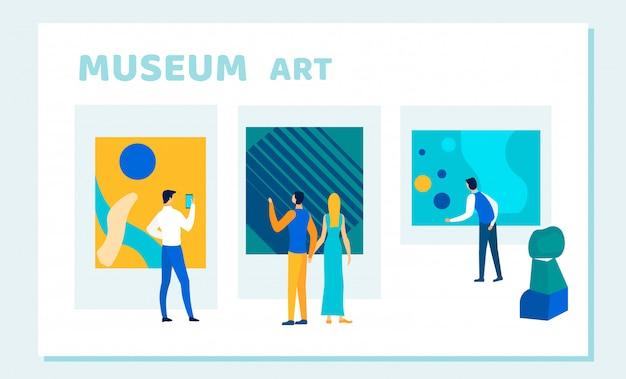 Ludzie oglądający kreatywną sztukę muzealną, dzieła sztuki