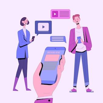 Ludzie oglądający najświeższe wiadomości przez telefon