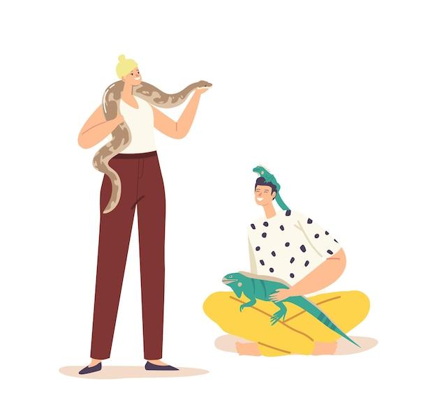 Ludzie opieki koncepcji zwierząt tropikalnych. męskie postacie kobiece z egzotycznymi zwierzętami jaszczurki i węża. ludzkie i dzikie stworzenia varan i python na białym tle. ilustracja kreskówka wektor