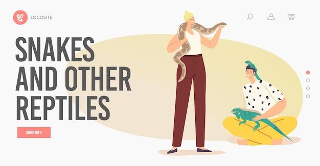 Ludzie opieki nad zwierzętami tropikalnymi concept.landing page szablon. postacie męskie i żeńskie z egzotycznymi zwierzętami jaszczurka i wąż. ludzkie i dzikie stworzenia varan i python. ilustracja kreskówka wektor
