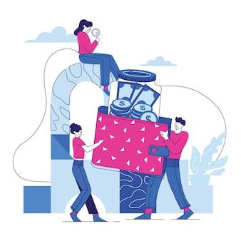 Ludzie oszczędzają pieniądze i monety w ilustracji szklanego słoika