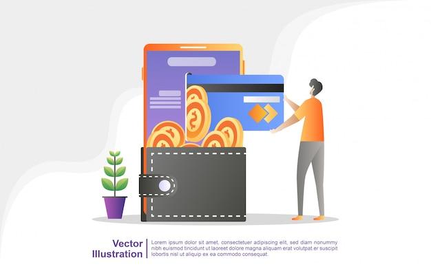 Ludzie oszczędzają pieniądze online za pomocą kart. płać za zakupy online kartą kredytową