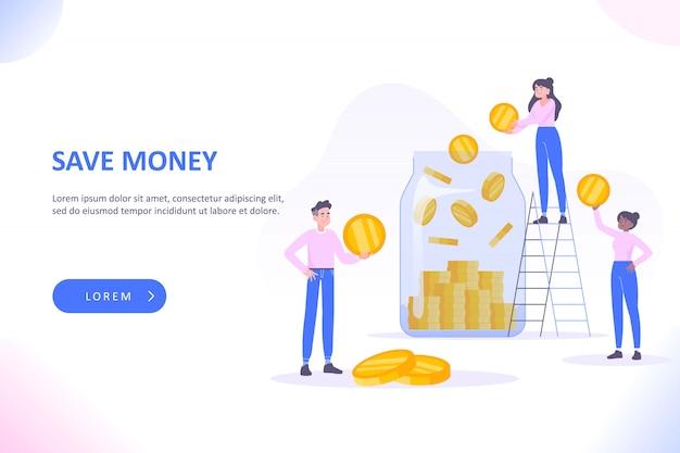 Ludzie oszczędzają pieniądze w słoiku na monety