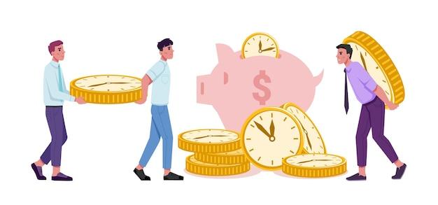 Ludzie oszczędzający pieniądze i czas, dochody finansowe