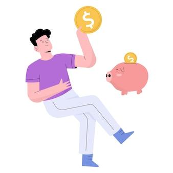 Ludzie oszczędzający pieniądze