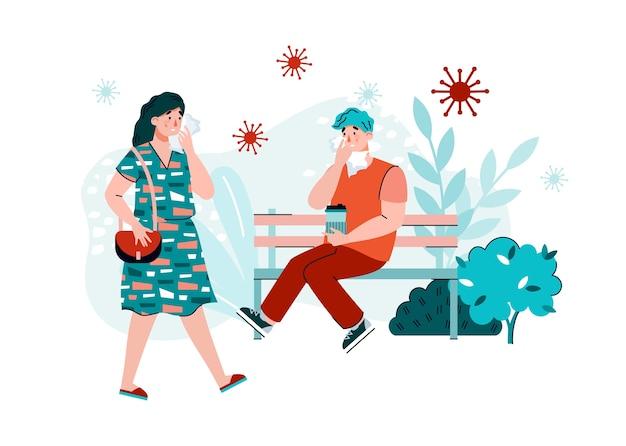 Ludzie otoczeni bakteriami wirusowymi w miejscu publicznym, płaska ilustracja kreskówka. rozprzestrzenianie się wirusów i chorób zakaźnych oraz zapobieganie epidemiom.