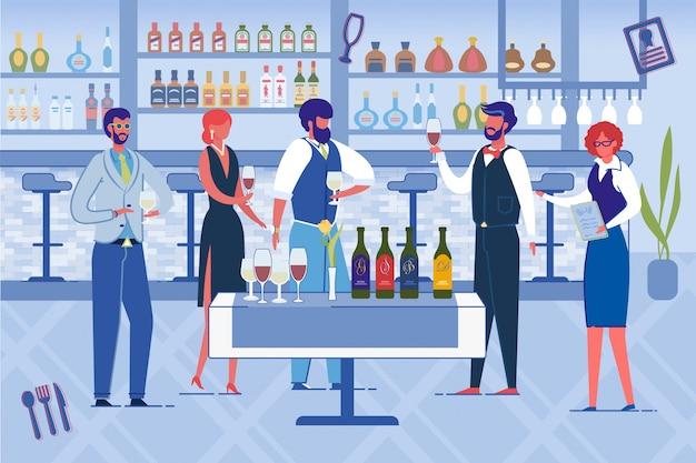 Ludzie otwierający nową restaurację, picie wina.