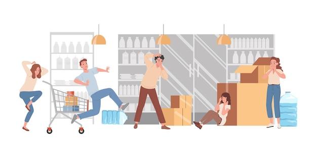 Ludzie panikują w sklepie wektor ilustracja płaska przestraszeni mężczyźni i