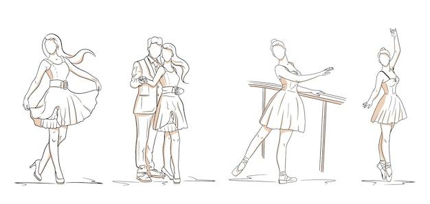 Ludzie. para, dziewczyna w sukience, baletnica. zestaw ludzi w stylu linii. ilustracja wektorowa do projektowania i dekoracji.