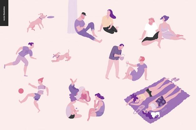 Ludzie parku piknik festiwalowy, kolorowy