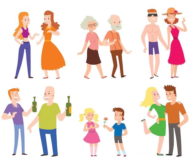 Ludzie pary, mężczyźni, kobiety i starzy mężczyźni z chłopcami kochają zestaw znaków płaskiej ilustracji wektorowych.